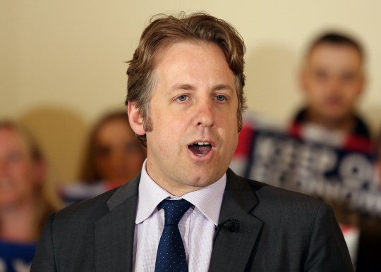 Marcus Fysh, Conservative party candidate for Yeovil, speaks at Norton sub Hamdon village hall during a General Election campaign event.