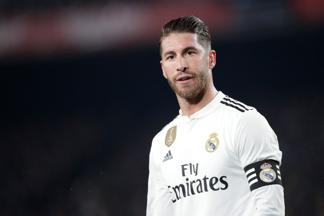 BARCELONA, SPAIN - FEBRUARY 6: Sergio Ramos of Real Madrid during the Spanish Copa del Rey match between FC Barcelona v Real Madrid at the Camp Nou on February 6, 2019 in Barcelona Spain (Photo by David S. Bustamante/Soccrates/Getty Images)