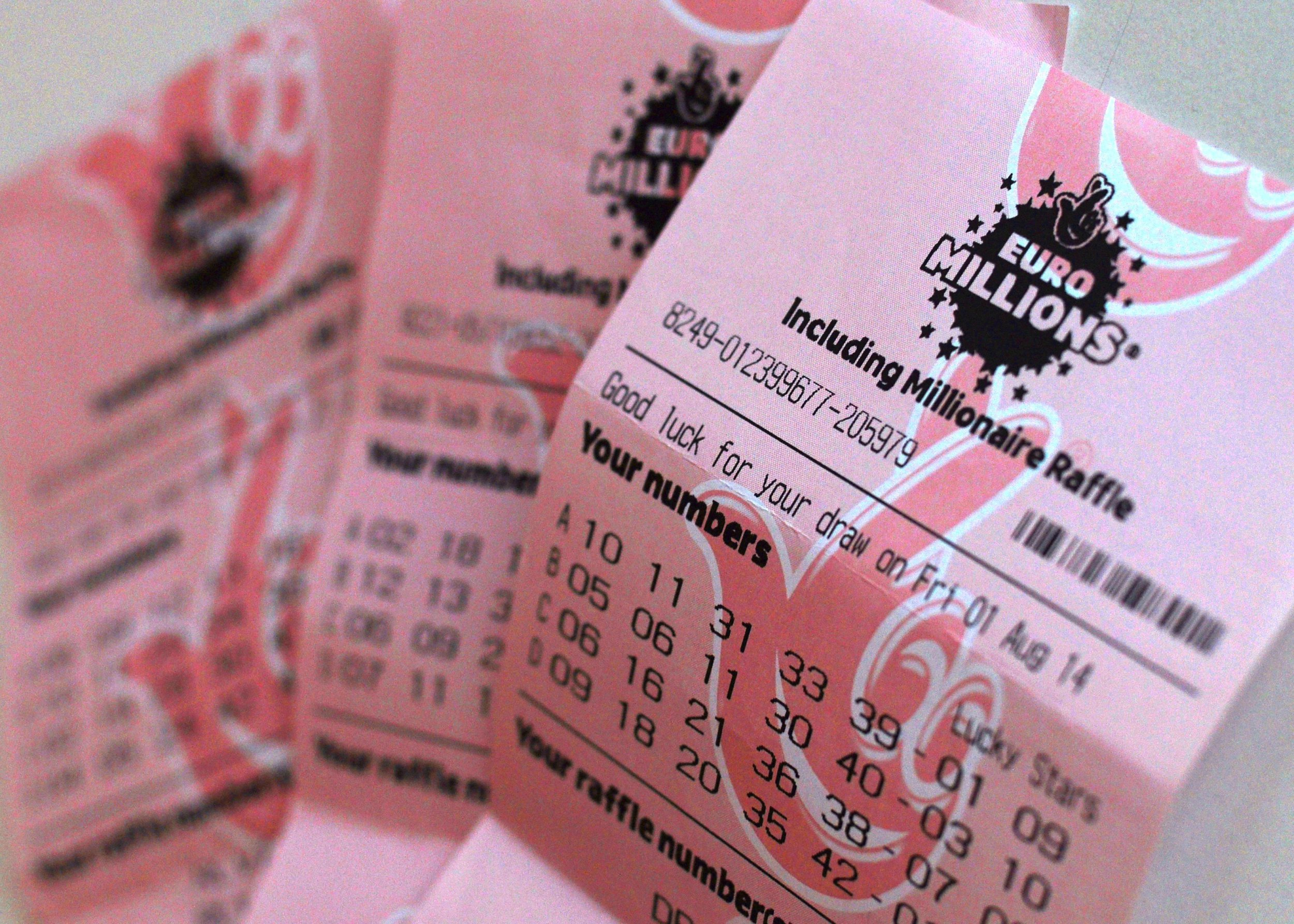 Mandatory Credit: Photo by Katherine Balmer/REX/Shutterstock (4078158c) EuroMillions ticket EuroMillions tickets - 2014
