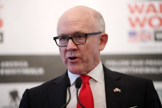 LONDON, ENGLAND - APRIL 11: Woody Johnson, United States Ambassador to the United Kingdom speaks during the 'Walk Of America' launch at Mandarin Oriental Hyde Park on April 11, 2018 in London, England. The Prince will also become a patron of the charity which is the latest expedition from the armed forces charity 'Walking With The Wounded'. This summer, a team of six veterans from the USA and the United Kingdom will walk 1,000 miles from the west to the east coast of America in 14 weeks. (Photo by Chris Jackson/Getty Images)