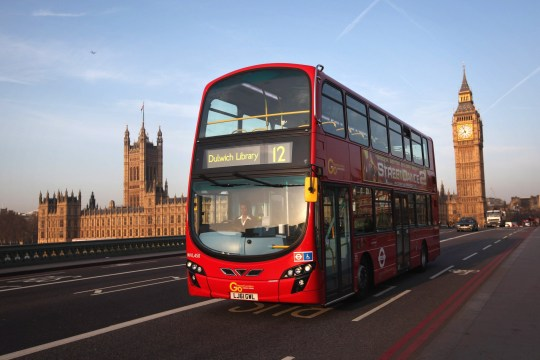 LONDON, ENGLAND - MARCH 28: A double decker bus makes its way over Westminster Bridge, past the Houses of Parliament and Big Ben on March 28, 2012 in London, England. (Photo by Dan Kitwood/Getty Images)