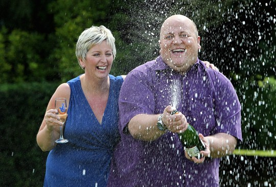 Adrian Bayford, 41, and wife Gillian, 40, from Haverhill, Suffolk, after a press conference at Down Hall Country House Hotel in Hatfield Heath, Hertfordshire, after they won ?148.6 million on Friday's EuroMillions jackpot.
