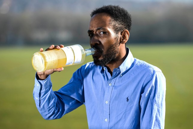 Fabian Farquharson, 37 a 'fruitarian' who drinks his own urine. See SWNS story SWOCurine; Meet the man who believes he has found the secret ingredient to leading a healthy life - drinking his own URINE. Fabian Farquharson, 37, has been gulping down his own fresh and month-old urine for three years, after reading about the purported health benefits online. He drinks up to one litre at room temperature at midday ??? the first thing he'll consume each day, starting with a pint of fresh urine and chased down with 300-400ml of aged. The interior designer claims the unusual thirst quencher has left him feeling healthier, happier and smarter. Fabian from Sheffield, South Yorkshire, said: ???I'd been researching alternative medicines when I read about drinking aged urine.