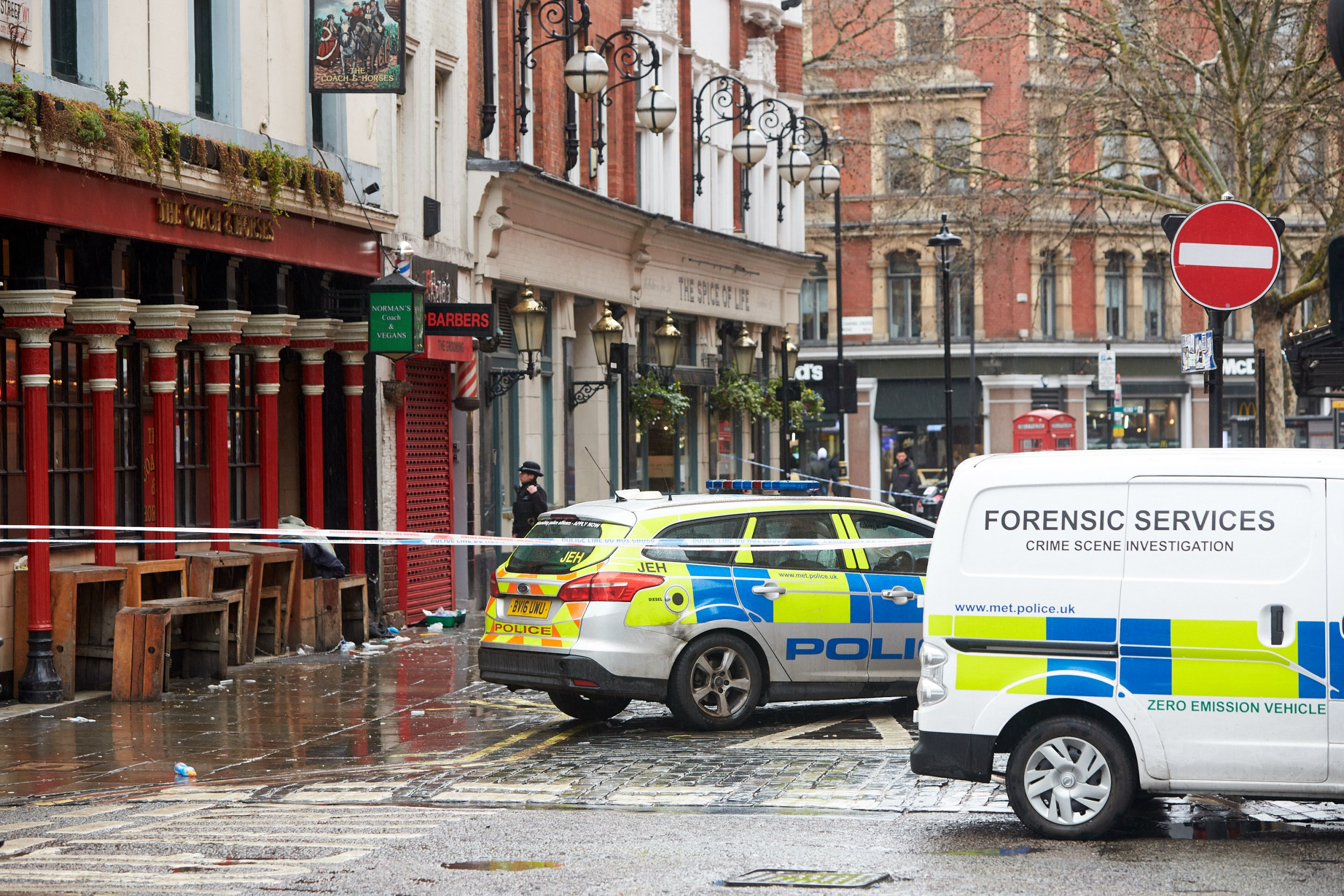 ? Licensed to London News Pictures. 03/03/2019. LONDON, UK. General view of the scene in Romilly Street, Soho following a stabbing at 6am this morning (Sunday). A man in his 30s suffered serious injuries and the Metropolitan Police arrested a women in her 30s at the scene. Photo credit: Cliff Hide/LNP
