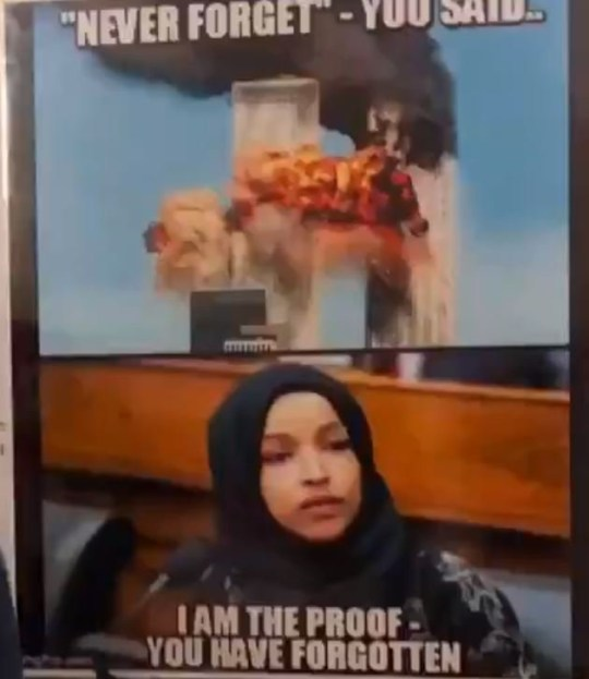 Picture: @wvdemocrats Shocking poster linking congresswoman Ilhan Omar to 9/11 sparks outrage