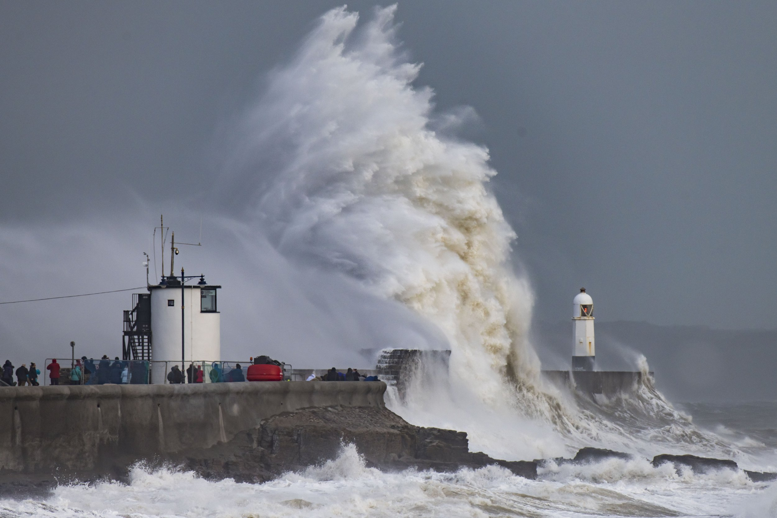 PORTHCAWL, WALES - MARCH 3: Waves crash against the harbour wall during Storm Freya on March 3 at Porthcawl, Wales. The Met Office have issued a yellow weather warning for wind and have warned of the potential for large waves and spray at coastal locations. (Photo by Matthew Horwood/Getty Images)