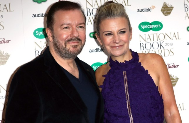 LONDON, ENGLAND - NOVEMBER 20: Jane Fallon, author of 'Faking Friends', and Ricky Gervais (L) attend the National Book Awards at RIBA on November 20, 2018 in London, England. (Photo by Tim P. Whitby/Getty Images)