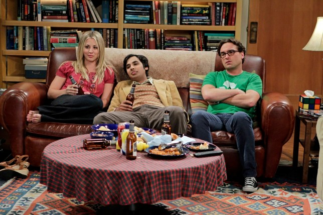 "LOS ANGELES - AUGUST 1: ""The Date Night Variable"" -- With his friends on dates, Raj (Kunal Nayyar, center) must face his loneliness, on the sixth season premiere of THE BIG BANG THEORY, Thursday, Sept. 27 (8:00 - 8:31 PM, ET/PT) on the CBS Television Network. Also pictured: Kaley Cuoco (left) and Johnny Galecki (right) (Photo by Cliff Lipson/CBS via Getty Images)"