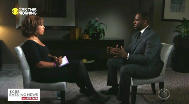 R Kelly being interviewed by Gayle King for CBS this week
