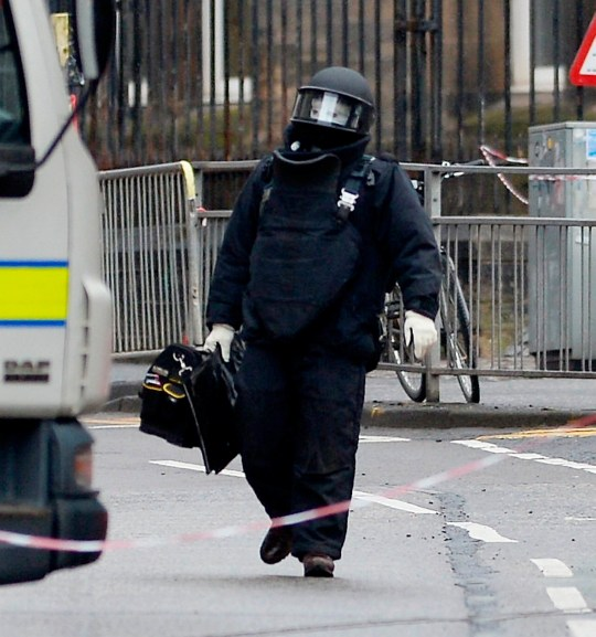 "The scene outside Glasgow University where the bomb squard are investigating a suspect package, March 6 2019. See SWNS story SWSCbomb; Glasgow University has been evacuated after a suspicious package was found in the university mailroom. Following advice from Police Scotland, a number of buildings on campus have been evacuated as a precautionary measure. The buildings that have been evacuated will remain closed for the rest of the day with classes in the affected buildings cancelled. A police spokesperson said: ""Around 10:50am, on Wednesday 6 March 2019, police received two reports of suspicious packages found at the University of Glasgow and the Royal Bank of Scotland in Edinburgh."