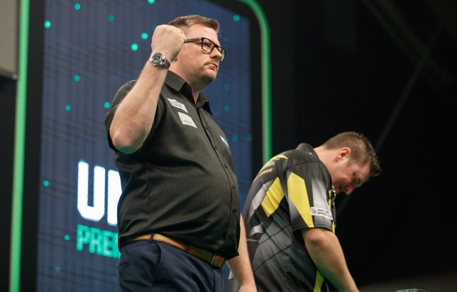 2019 Unibet Premier League Darts: Night Five- March 7 2019 The BHGE Arena: Aberdeen: Daryl Gurney v James Wade pic shows: Wade wins his match