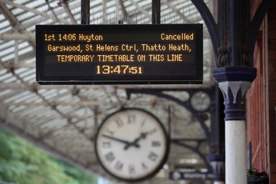 The departure board at Poulton-le-Fylde train station as Northern have launched an eight-week interim timetable, removing 165 of its regular trains.
