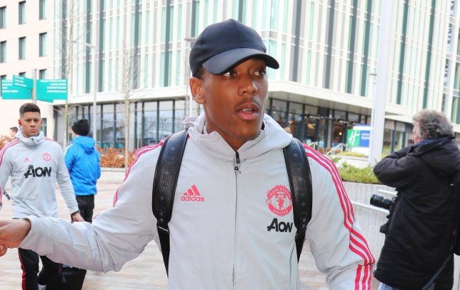 9.3.19????????? The Manchester United team get the train to London on Saturday afternoon for their Premier League match against Arsenal on Sunday ??????. Anthony Martial.