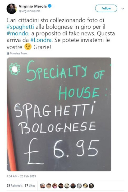 Spaghetti bolognese doesn't exist Picture: Virginio Merola