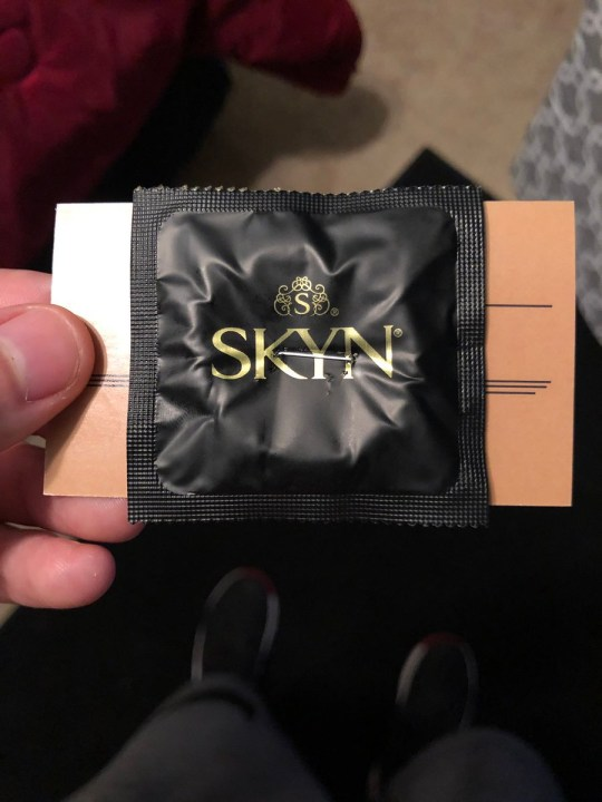 a hole in the condom Cut