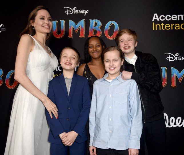 "LOS ANGELES, CALIFORNIA - MARCH 11: Angelina Jolie, Knox Leon Jolie-Pitt, Zahara Marley Jolie-Pitt, Vivienne Marcheline Jolie-Pitt, and Shiloh Nouvel Jolie-Pitt attend the premiere of Disney's ""Dumbo"" at El Capitan Theatre on March 11, 2019 in Los Angeles, California. (Photo by Kevin Winter/Getty Images)"