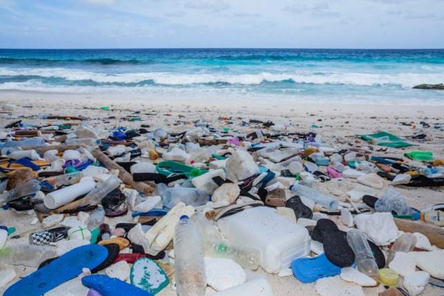 Plastic Waste washed up at Greta Beach, Christmas Island, Australia