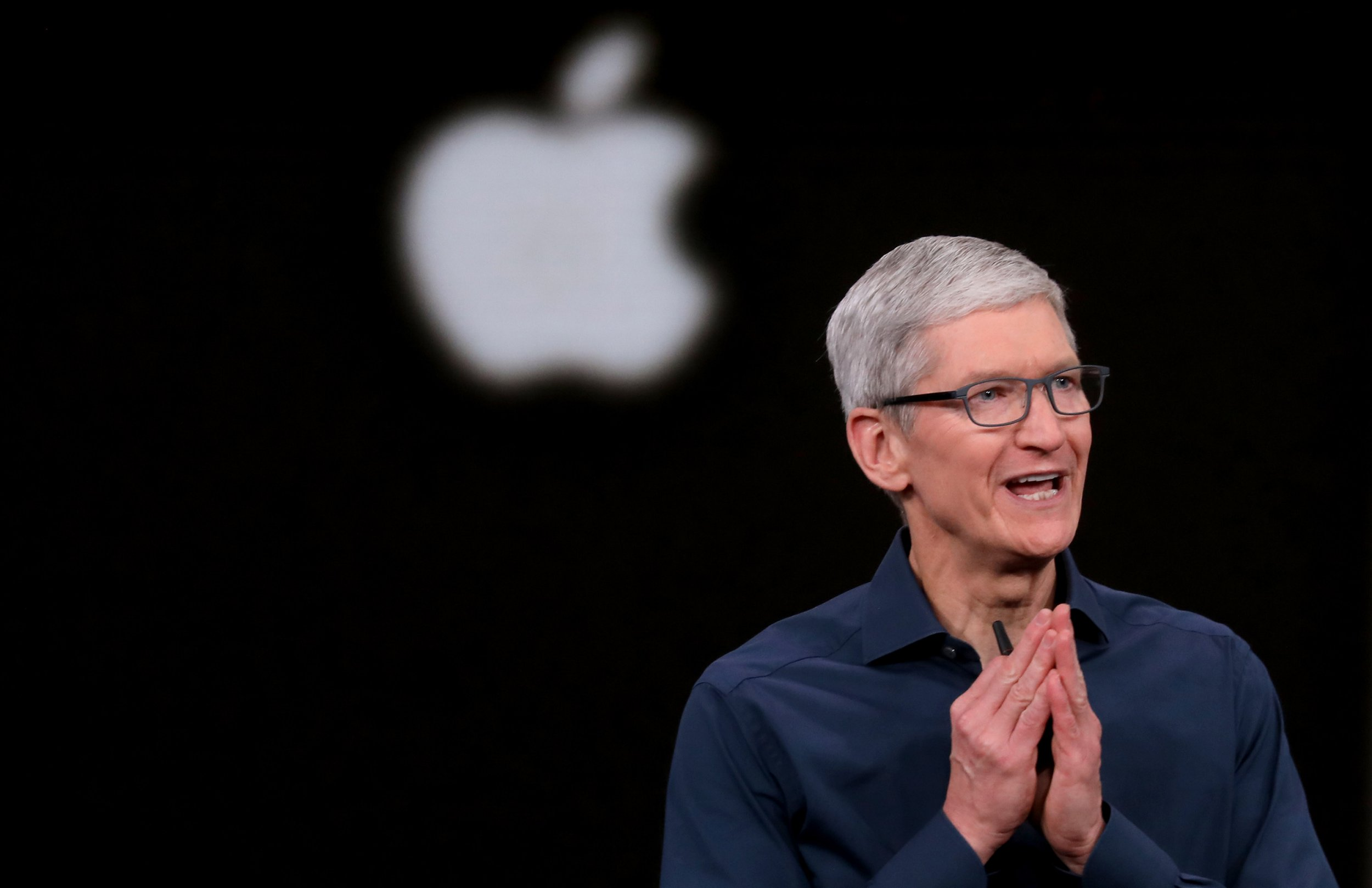 September 12, 2018 - Cupertino, California, U.S. - Tim Cook opens the Apple's annual product launch, Wednesday, Sept. 12, 2018, at company headquarters in Cupertino, Calif. (Credit Image: ?? Karl Mondon/East Bay Times/TNS via ZUMA Wire)