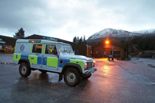 A Police vehicle at the Nevis Range Mountain Resort with Ben Nevis behind where two climbers have died and another two have been injured after an avalanche on the mountain. PRESS ASSOCIATION Photo. Picture date: Tuesday March 12, 2019. See PA story POLICE Avalanche. Photo credit should read: Andrew Milligan/PA Wire