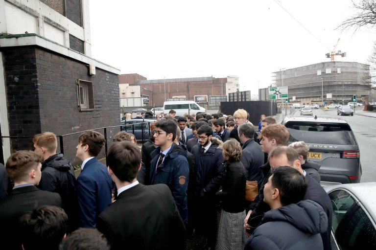 People attend the funeral of 17-year-old Yousef Makki from Burnage at the Dar Al Hadi Foundation, in Manchester. The teenager was stabbed to death in Hale Barns, near Altrincham on Saturday March 3. PRESS ASSOCIATION Photo. Issue date: Wednesday March 13, 2019. See PA story FUNERAL Makki. Photo credit should read: Peter Byrne/PA Wire