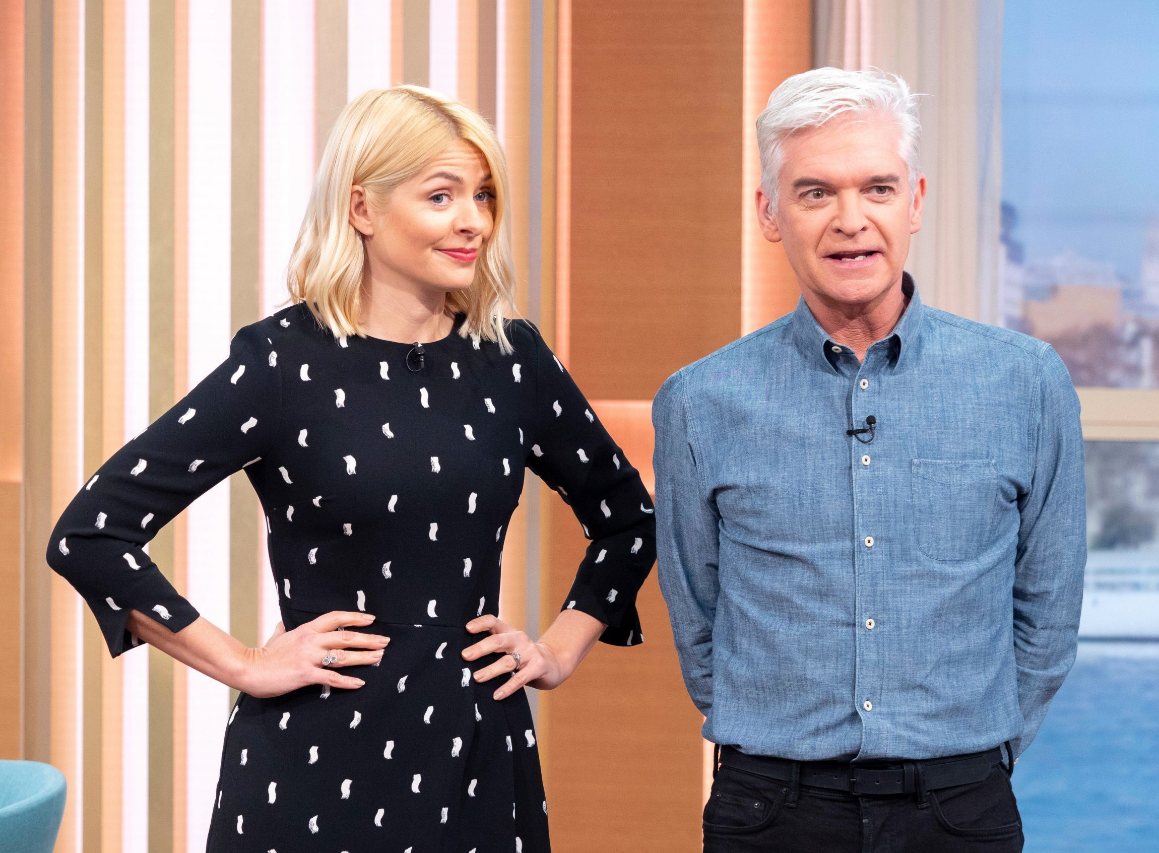 Editorial use only Mandatory Credit: Photo by Ken McKay/ITV/REX (10153007by) Holly Willoughby and Phillip Schofield 'This Morning' TV show, London, UK - 13 Mar 2019