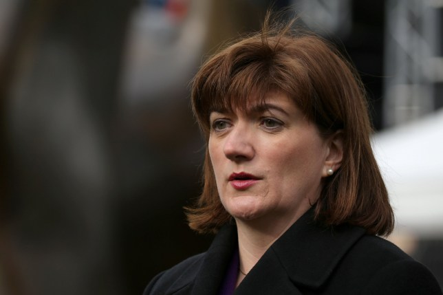 """Conservative Party MP Nicky Morgan talks during an interview in the temporary media centre set up opposite the Houses of Parliament in London on March 13, 2019. - British MPs will vote Wednesday on whether the country should leave the EU without a deal in just over two weeks, after overwhelmingly rejecting a draft divorce agreement. The House of Commons is expected to vote against a """"no deal"""" Brexit, although this could still happen on March 29 unless it can agree on what should happen instead. (Photo by Isabel Infantes / AFP)ISABEL INFANTES/AFP/Getty Images"""