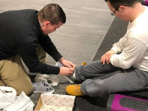 Gym manager surprises client who has Down's Syndrome with new trainers