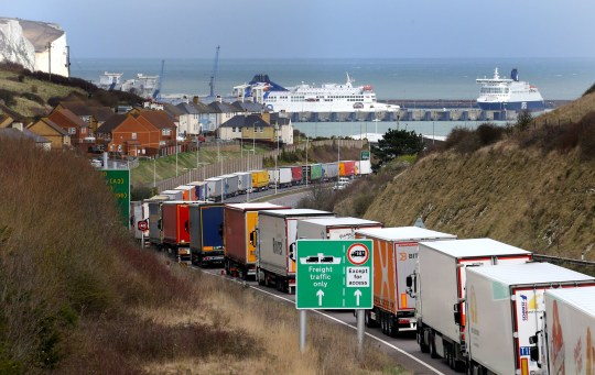 Lorries queue on the A20 outside Dover in Kent where Operation Stack is expected to be implemented after the queue for lorries trying to reach the Channel port has stretched to around seven miles. PRESS ASSOCIATION Photo. Picture date: Wednesday March 13, 2019. See PA story TRANSPORT Stack. Photo credit should read: Gareth Fuller/PA Wire
