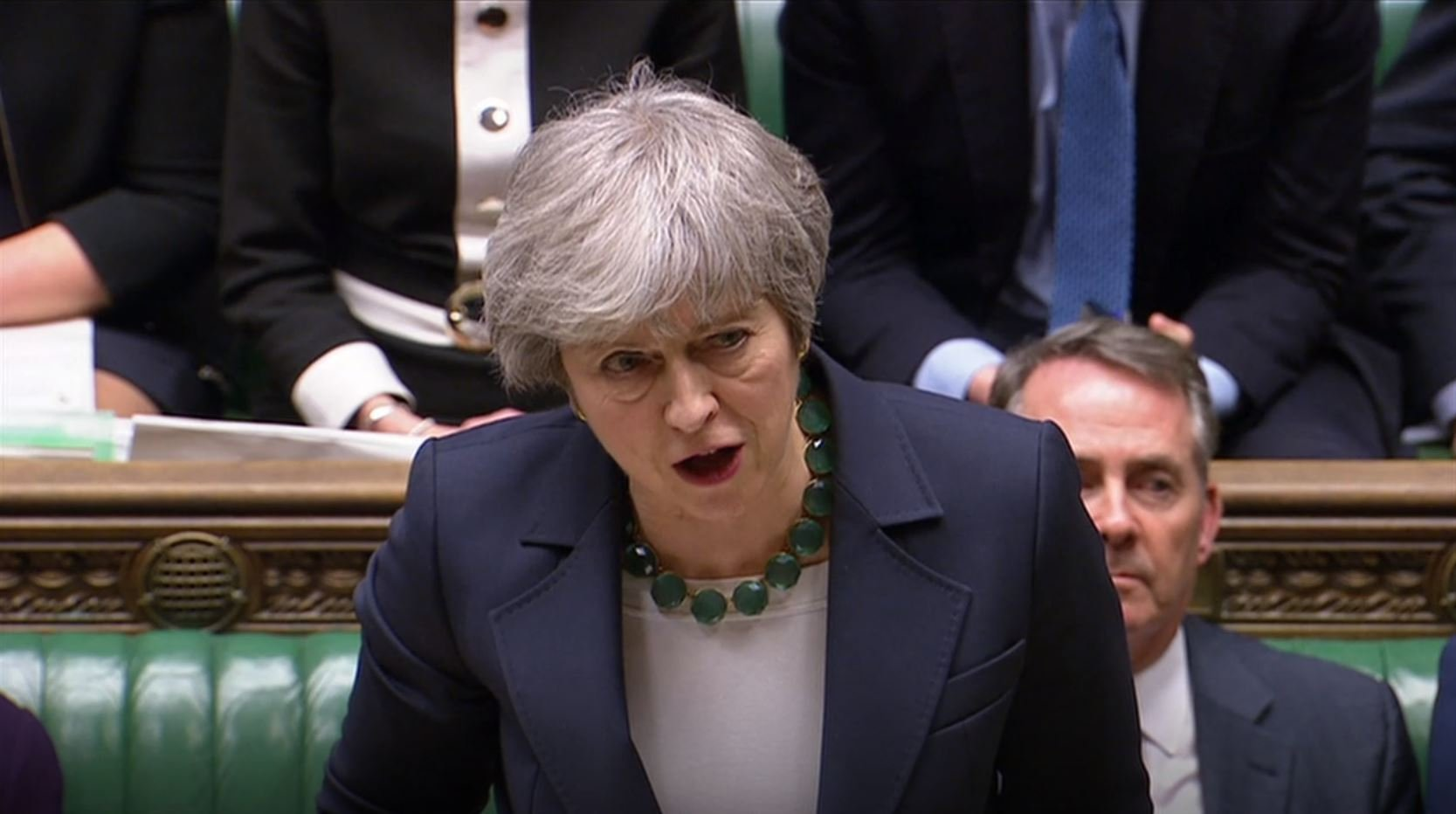 Prime Minister Theresa May speaking in parliament