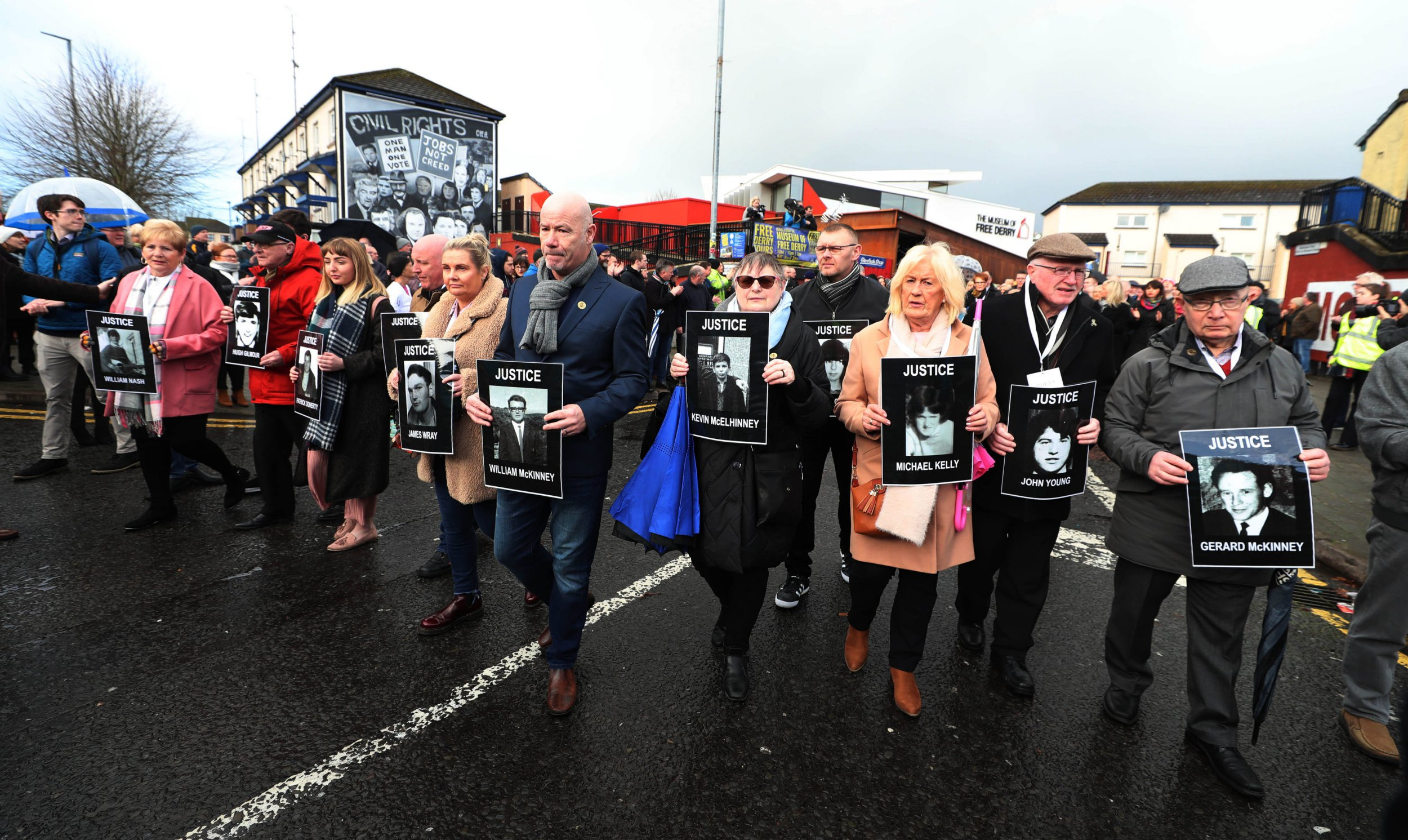 Families of those who died march through the Bogside in Londonderry, Northern Ireland, ahead of an announcement over the prosecution of 17 former British soldiers and two former members of the Official IRA in connection with the events of Bloody Sunday in the city in January 1972. PRESS ASSOCIATION Photo. Picture date: Thursday March 14, 2019. See PA story ULSTER Sunday. Photo credit should read: Niall Carson/PA Wire