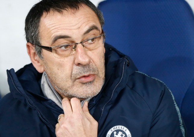 Chelsea manager Maurizio Sarri waits for the start of the Europa League round of 16, second leg soccer match between Dynamo Kiev and Chelsea at the Olympiyskiy stadium in Kiev, Ukraine, Thursday, March 14, 2019. (AP Photo/Efrem Lukatsky)