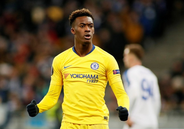 Soccer Football - Europa League - Round of 16 Second Leg - Dynamo Kiev v Chelsea - NSC Olympiyskiy, Kiev, Ukraine - March 14, 2019 Chelsea's Callum Hudson-Odoi celebrates scoring their fifth goal REUTERS/Valentyn Ogirenko