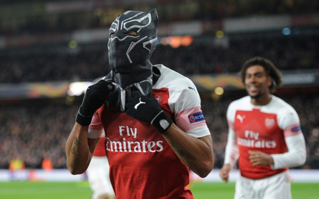 Mandatory Credit: Photo by Holly Allison/TPI/REX (10139242x) Pierre-Emerick Aubameyang of Arsenal celebrates the third goal by wearing a Black Panther mask during the UEFA Europa League round of 16 second leg match between Arsenal and Stade Rennais F.C at the Emirates Stadium in London, UK - 14th March 2019 Arsenal v Rennes, UEFA Europa League Round of 16, Football, The Emirates Stadium, London, UK - 14 Mar 2019