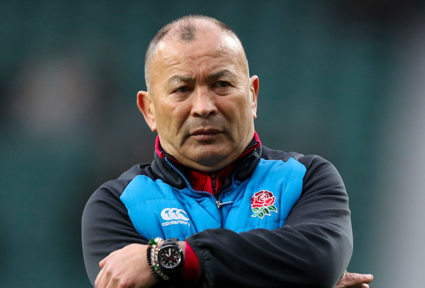 Mandatory Credit: Photo by Jed Leicester/BPI/REX (10157838a) England coach Eddie Jones stretches during the warm up England v Scotland, Guinness Six Nations, Rugby Union, Twickenham Stadium, London, UK - 16 Mar 2019
