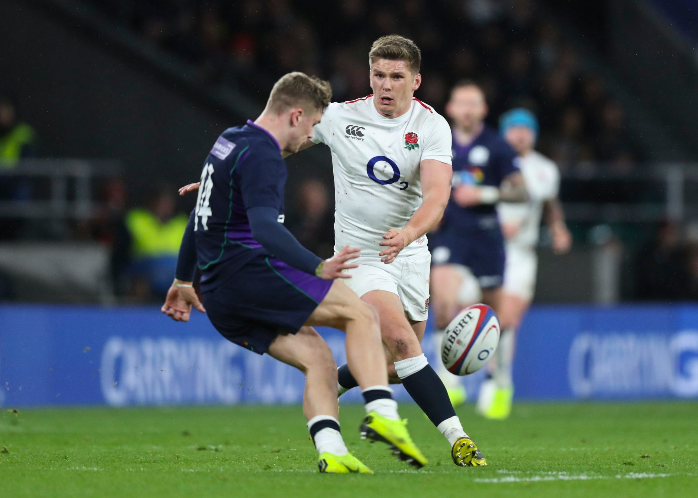 Mandatory Credit: Photo by Jed Leicester/BPI/REX (10157838y) The sequence of Owen Farrell (Captain) of England tackling Darcy Graham of Scotland by using his shoulder (3 of 7) England v Scotland, Guinness Six Nations, Rugby Union, Twickenham Stadium, London, UK - 16 Mar 2019