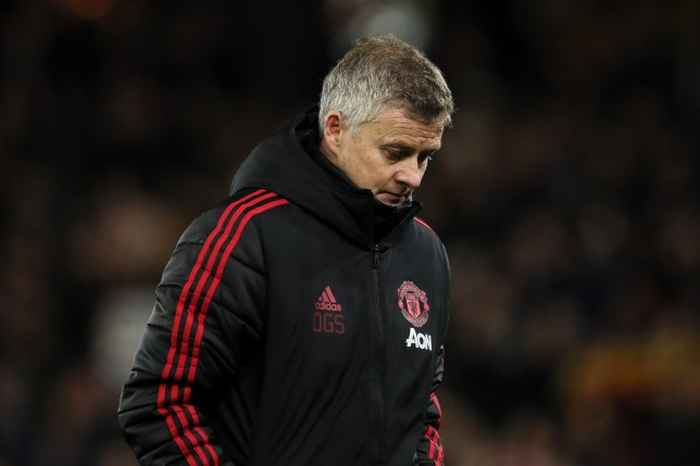 WOLVERHAMPTON, ENGLAND - MARCH 16: A dejected Ole Gunnar Solskjaer the head coach / manager of Manchester United during the FA Cup Quarter Final match between Wolverhampton Wanderers and Manchester United at Molineux on March 16, 2019 in Wolverhampton, England. (Photo by Matthew Ashton - AMA/Getty Images)