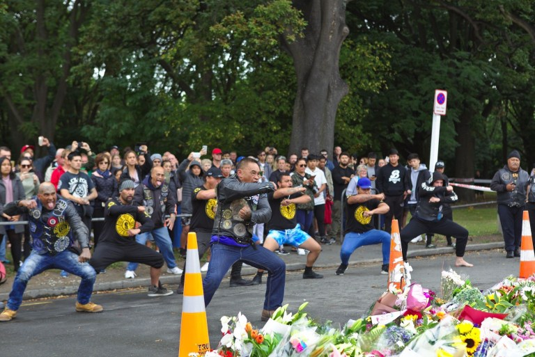 Biker gang perform emotional haka in powerful tribute to New