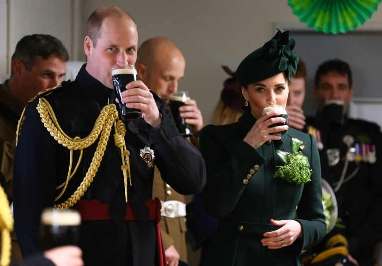 The Duke and Duchess of Cambridge after attending the St Patrick's Day parade at Cavalry Barracks in Hounslow, where they presented shamrock to officers and guardsmen of 1st Battalion the Irish Guards. PRESS ASSOCIATION Photo. Picture date: Sunday March 17, 2019. See PA story ROYAL Cambridge. Photo credit should read: Gareth Fuller/PA Wire