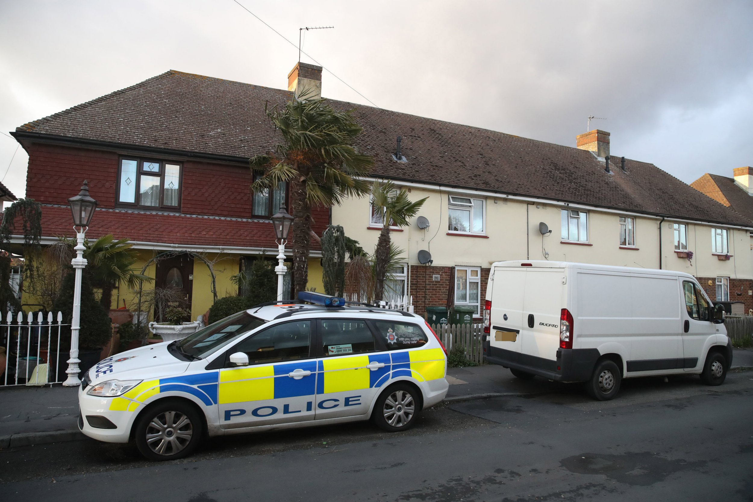 Police in Viola Avenue in Stanwell, Surrey where they are investigating a stabbing in which a man rampaged with a baseball bat and knife while hurling racist abuse. PRESS ASSOCIATION Photo. Picture date: Sunday March 17, 2019. Counter terrorism officers and Surrey Police are investigating after the incident on Saturday night. A 50-year-old man from the village was arrested on suspicion of attempted murder and racially aggravated public order offences. See PA story POLICE Stanwell. Photo credit should read: Steve Parsons/PA Wire