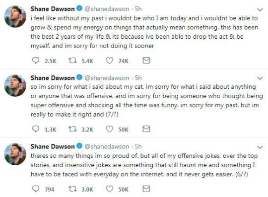 What did Shane Dawson say about his cat and what did he say