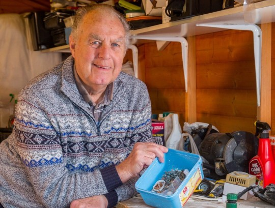Stephen Mckears, 72 holding the objects an OCD mouse has been cleaning away each night in his shed in Severn Beach, South Gloucestershire and was caught on video. See SWNS copy SWCAmouse: A mystified homeowner recruited the help of his neighbour to discover an OCD mouse tidying away his shed tools. Stephen Mckears, 72, who first noticed objects moving in his shed a month ago, asked his neighbour Rodney Holbrook, 70, to help him find the mystery culprit. The pair decided to set up a trail camera and the retired electrician was left baffled after the footage showed the adorable mouse tiding away tools into an old ice cream tub.