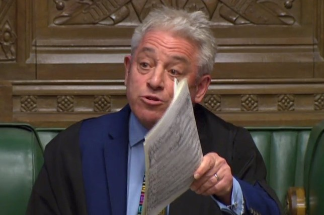 """A video grab from footage broadcast by the UK Parliament's Parliamentary Recording Unit (PRU) shows Speaker of The House of Commons John Bercow (R) as he makes a statement in the House of Commons in London on March 18, 2019, on the ability of the Government to hold another meaningful vote on the government's Brexit deal. - Britain's government scrambled Monday to convince Brexit hardliners to give in at last and back Prime Minister Theresa May's EU divorce deal, though several opponents were refusing to blink. (Photo by Niklas HALLE'N / PRU / AFP) / RESTRICTED TO EDITORIAL USE - MANDATORY CREDIT """" AFP PHOTO / PRU """" - NO USE FOR ENTERTAINMENT, SATIRICAL, MARKETING OR ADVERTISING CAMPAIGNSNIKLAS HALLE'N/AFP/Getty Images"""