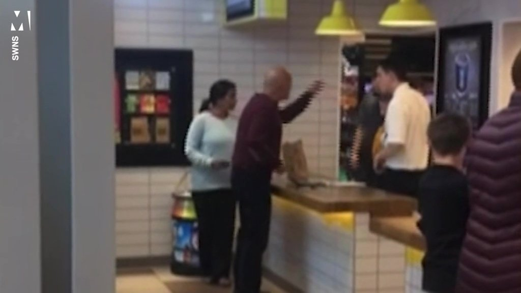 A vegetarian could not contain his rage when he was handed hamburgers not once, but twice at a McDonald's drive thru. The unidentified dad had ordered veggie burgers at the fast food restaurant in Aylesford at dinner time yesterday. After staff gave him, his wife and their son the wrong order once, McDonald's workers managed to mess the order up again prompting the dad to air his frustration.