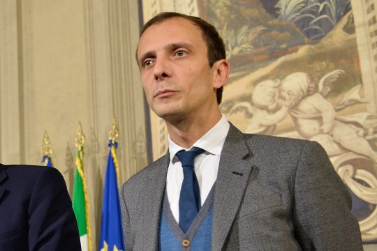 Gian Marco Centinaio, Giancarlo Giorgetti, Massimiliano Fedriga of Lega Nord during consultations at Quirinale after the resignation of government Renzi,Quirinale Rome on december 09, 2016. Italian President Sergio Mattarella continues consultations with leaders of political parties following the resignation of Matteo Renzi as prime minister earlier in the week after he suffered a heavy defeat in a national referendum on constitutional reform for plans to hand more power to the PM by reducing the role of the upper house and powers of regional govts. Mattarella is not expected to call fresh elections but is instead likely to appoint a caretaker prime minister - Finance Minister Pier Carlo Padoan, Culture Minister Dario Franceschini and Senate President Pietro Grasso are seen as the frontrunners * The referendum saw close to 60\\% of voters opt for a 'No' vote, with the result seized upon by populist groups including the Five Star movement founded by Beppe Grillo, a stand-up comedian, and the anti-immigration Northern League (Lega Nord). (Photo by Silvia Lore/NurPhoto) *** Please Use Credit from Credit Field ***