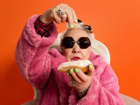 Super glam grandmas pose with bakery's products to promote their pastries
