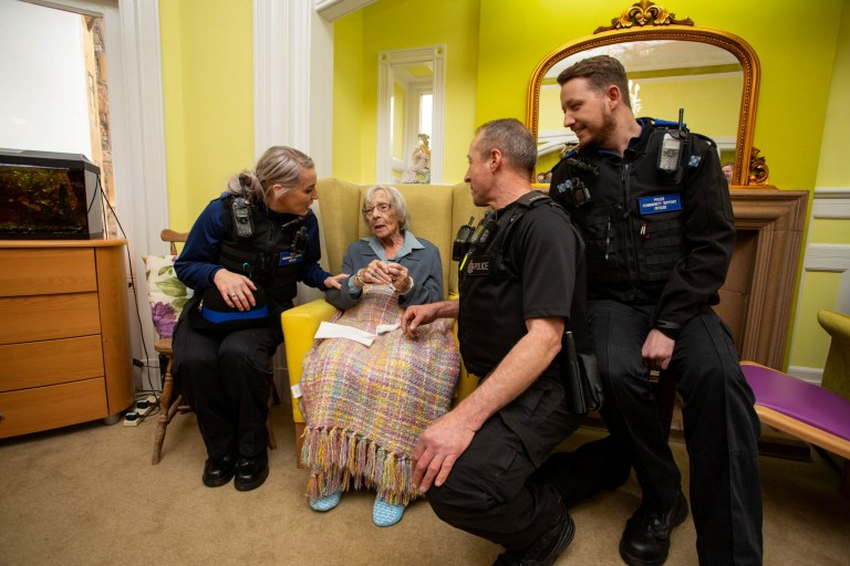 104-year-old Anne Brokenbrow whose wish was to be arrested as she had never been on the wrong side of the law. Local policing teams in Stoke Bishop arrived at Stokeleigh Care Home in Stoke Bishop, Bristol, to make her wish come true. Bristol, March 20 2019.