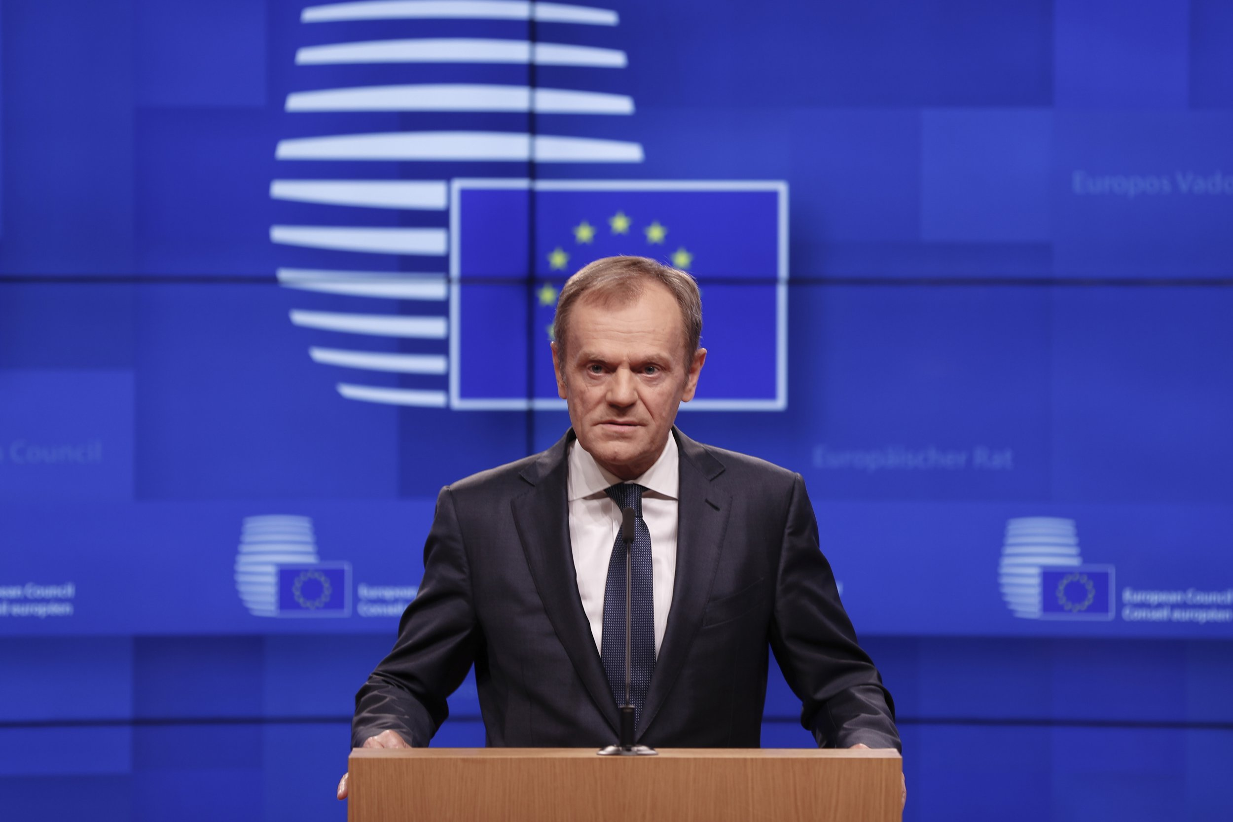 European Council President Donald Tusk speaks during a media conference on Brexit at the Europa building in Brussels, Wednesday, March 20, 2019. Despite British Prime Minister Theresa May asking for a Brexit extension deadline until June 30, the European Commission maintains that any deadline should not shoot by the May 23 start of the European elections. (AP Photo/Frank Augstein)