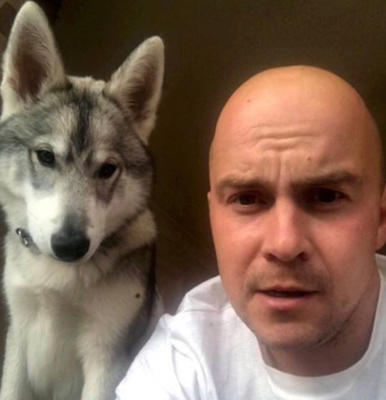 Dated: 21/03/2019 Scott Gretton, 31, from Hartlepool, got the shock of his life when a neighbour rang to tell him that his dog was standing on the roof of his house. Pictured: Scott and his 15-month-old dog, Gary. See story North News