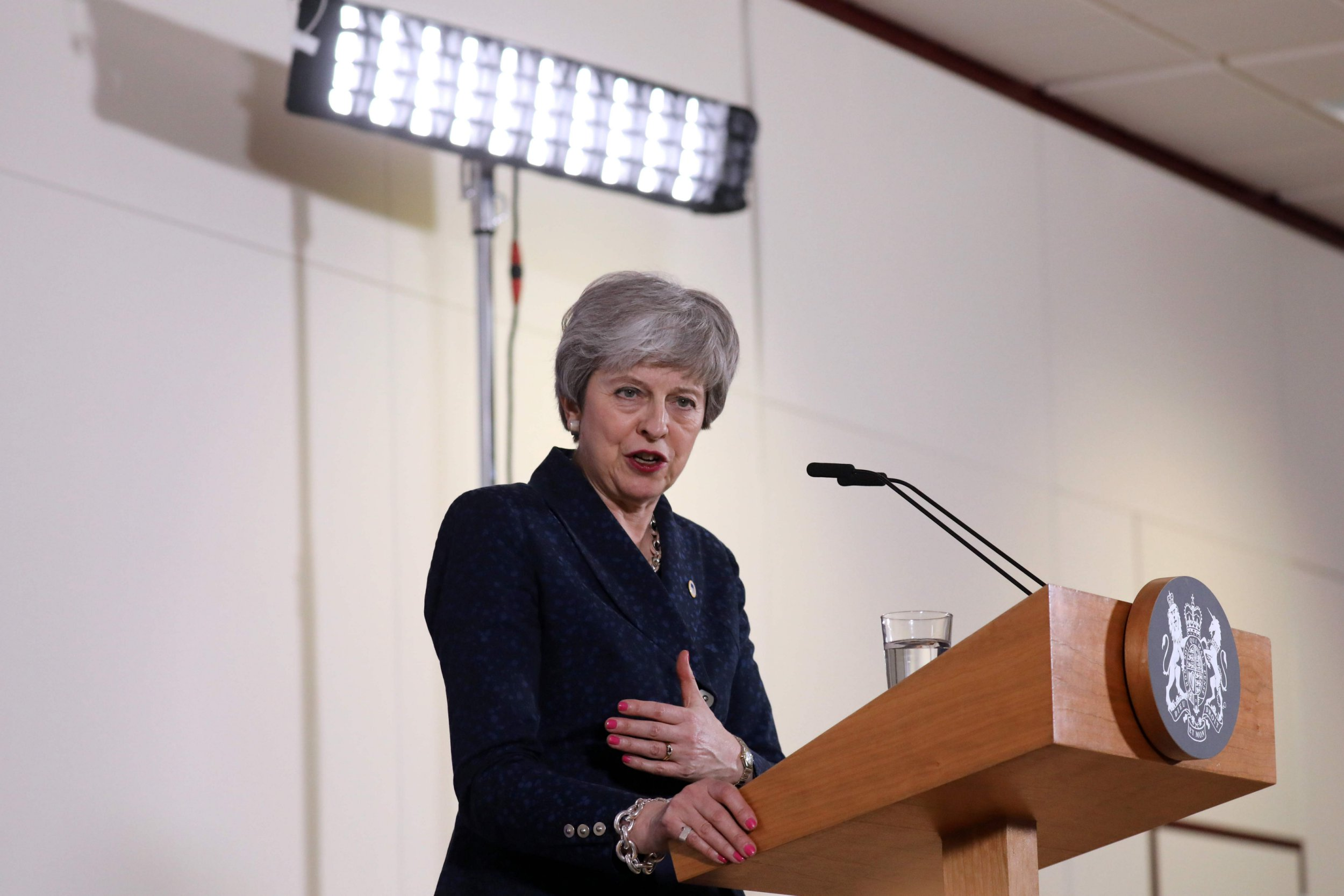British Prime Minister Theresa May holds a press conference on March 22, 2019, at the end of the first day of an EU summit focused on Brexit, in Brussels. - European Union leaders meet in Brussels on March 21 and 22, for the last EU summit before Britain's scheduled exit of the union. (Photo by Ludovic MARIN / AFP)LUDOVIC MARIN/AFP/Getty Images