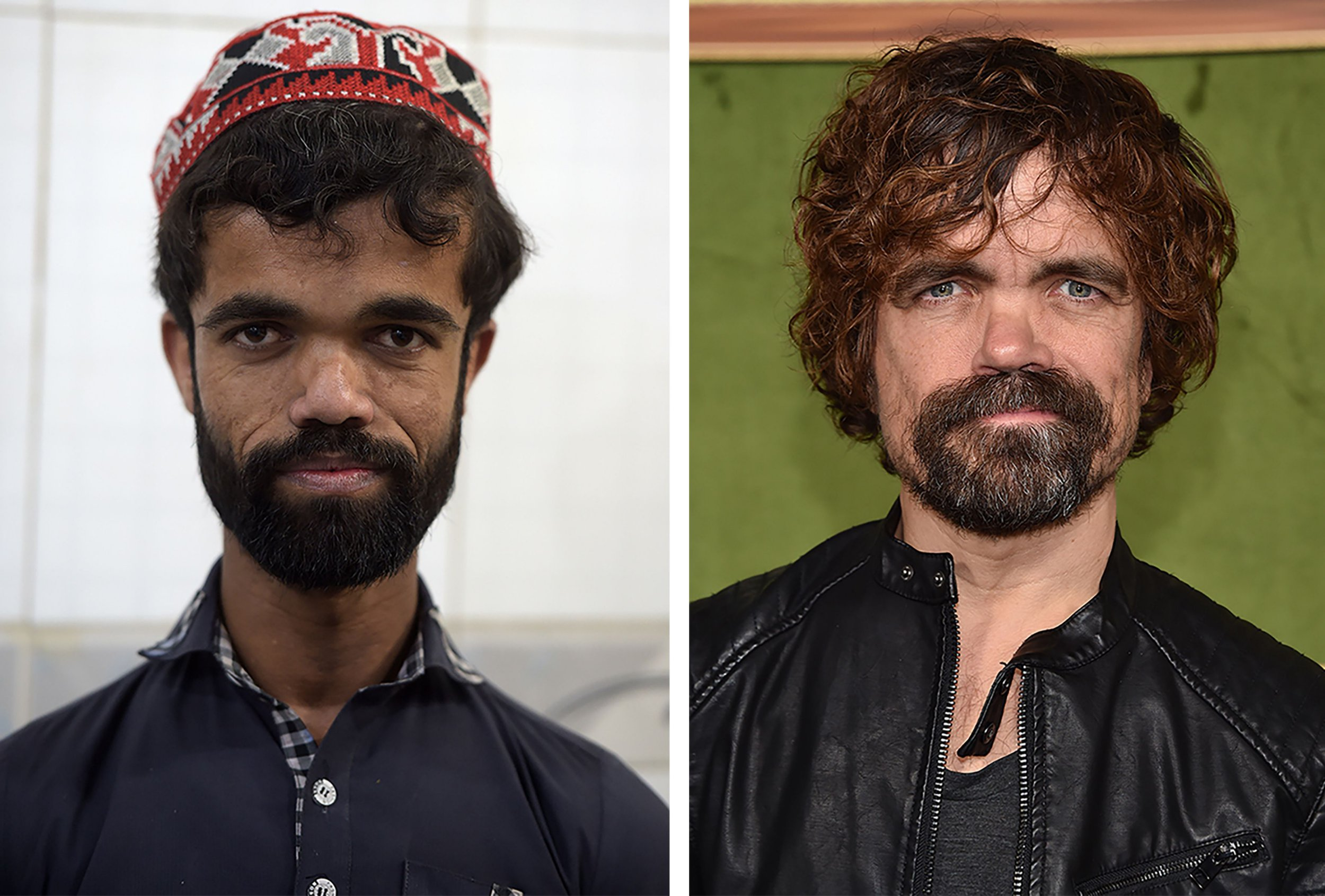 "(COMBO) This photo combination created on March 14, 2019 shows (L) Pakistani waiter Rozi Khan posing for a photograph at Dilbar Hotel in Rawalpindi on February 22, (R) US actor Peter Dinklage at the HBO premiere of ""My Dinner With Herve"" at the Paramount Studios in Los Angeles on October 4, 2018. - Rozi Khan had never heard of the Game of Thrones -- or its hugely popular character Tyrion Lannister -- until his striking resemblance to the dwarf anti-hero got heads turning at home. (Photo by Aamir QURESHI and Chris DELMAS / AFP) / To go with PAKISTAN-LIFESTYLE-TELEVISION-ENTERTAINMENTAAMIR QURESHI,CHRIS DELMAS/AFP/Getty Images"